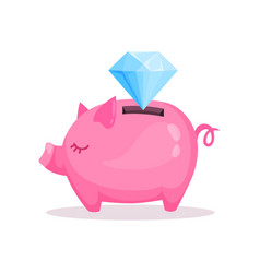 pink piggy bank and diamond saving and investing vector image
