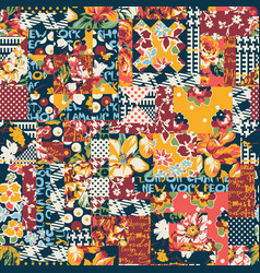 abstract floral polka plaid patchwork wallpaper vector image vector image