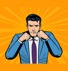 aggressive businessman or super hero with fists vector image vector image