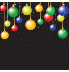 hanging baubles on black background vector image vector image