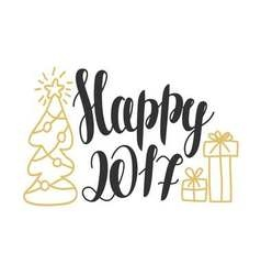 Happy 2017 - hand drawn design elements for vector image
