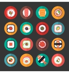 Japanese food sushi icons set vector image vector image