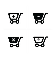 shopping cart icons with mathematical symbol vector image