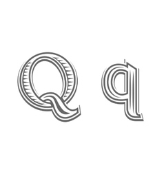 Font tattoo engraving letter Q vector image vector image
