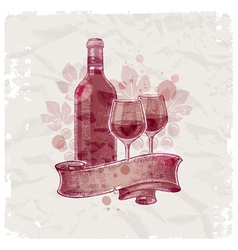 hand drawn wine bottle and glasses vector image vector image