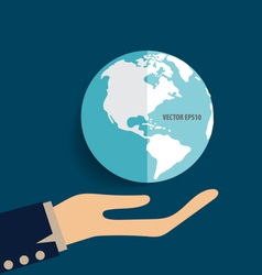 Hand holding earth vector image vector image