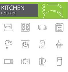 kitchen line icons set outline vector image