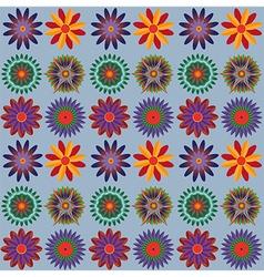Orange Blue Green Flower Pattern vector image vector image