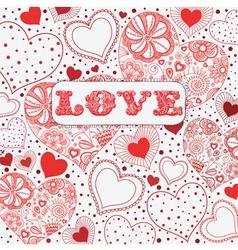 Vintage Love Hearts Pattern vector image vector image