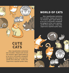 World of cute cats vertical promotional posters vector