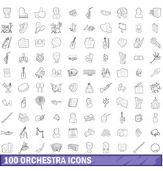 100 orchestra icons set outline style vector