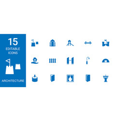15 architecture icons vector