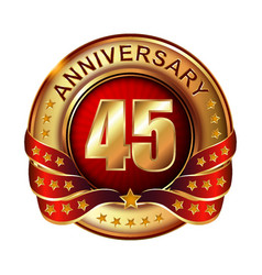 45 anniversary golden label with ribbon vector image