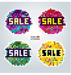 A set of multicolored pixel sale stickers vector