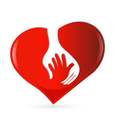 Abstract red heart with a protecting hand vector