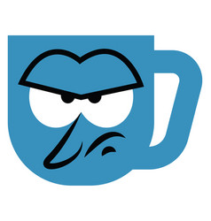 Angry blue mug on a white background vector