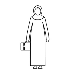 Arabic woman icon outline style vector image vector image