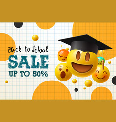 Back to school sale poster and banner with flying vector