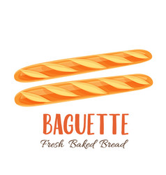 Baguette bread icon vector