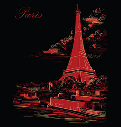 black and red hand drawing paris 3 vector image