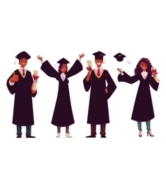 Black students in traditional caps and gowns vector