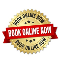 Book online now 3d gold badge with red ribbon vector