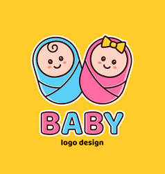 boy and girlbaby showernewborn logo vector image
