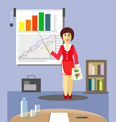 business woman makes a report on schedules vector image