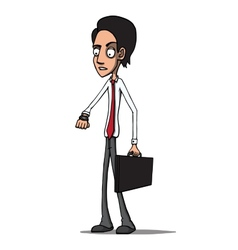 Businessman with briefcase late for a meeting vector