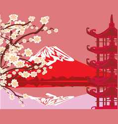 Card with asian buildings and mount fuji vector