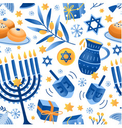 cartoon decorative elements jewish holiday vector image