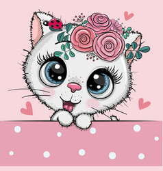 Cartoon white kitten with flowerson a pink vector
