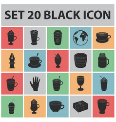 different kinds of coffee black icons in set vector image