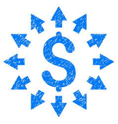 Dollar distribution grunge icon vector