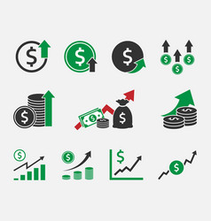 dollar rate increase currency growth icon set vector image