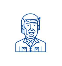 Donald trump line icon concept donald trump flat vector