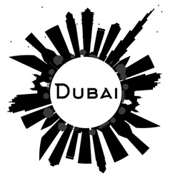 Dubai City skyline black and white silhouette vector