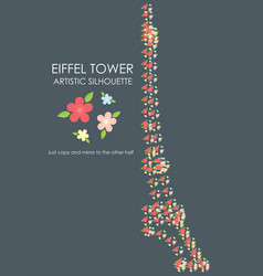 Eiffel tower artistic colored flowers silhouette vector