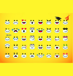 Emoji icons in medical mask on yellow vector