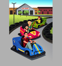 Family playing go-kart vector