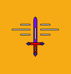 flat icon design collection ancient sword vector image