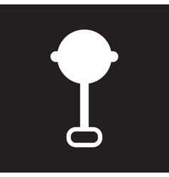 Flat icon in black and white style baby rattle vector