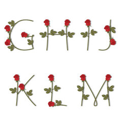 Floral alphabet Red roses with shadow from G to M vector image