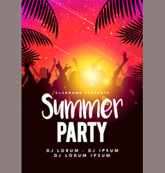 Flyer poster design summer beach party template vector