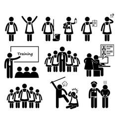 foreign maid agency stick figure pictogram icons vector image