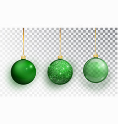 Green christmas tree toy set isolated on a vector