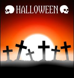 Halloween graveyard with crosses vector image