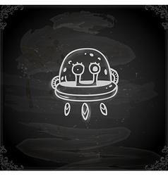 Hand Drawn Alien in Spaceship vector image