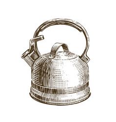hand-drawn retro kettle teapot sketch vector image