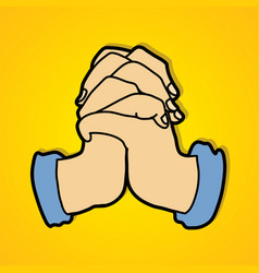 Hands prayer christian praying vector